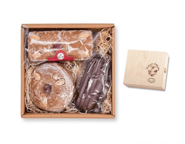 Holzkassette - mit drei verschiedenen Lebkuchen