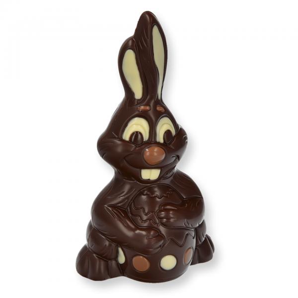 Bunny mit Ei groß, Zartbitter - Schoko Osterhase