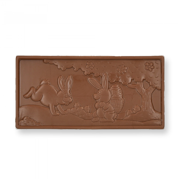 Hasenschokolade, Vollmilch, bestreut mit Knusperwaffelbruch