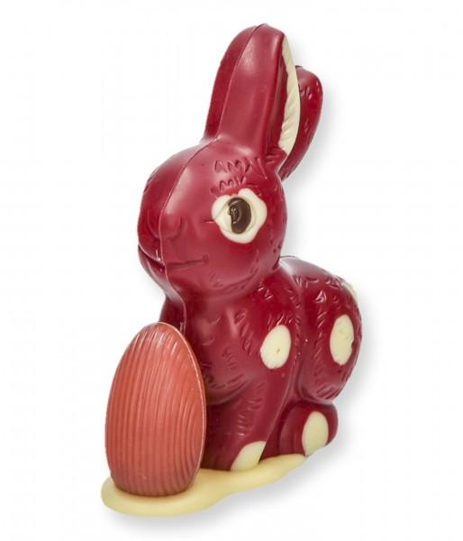 Sitzhase klein mit Ei, Himbeer