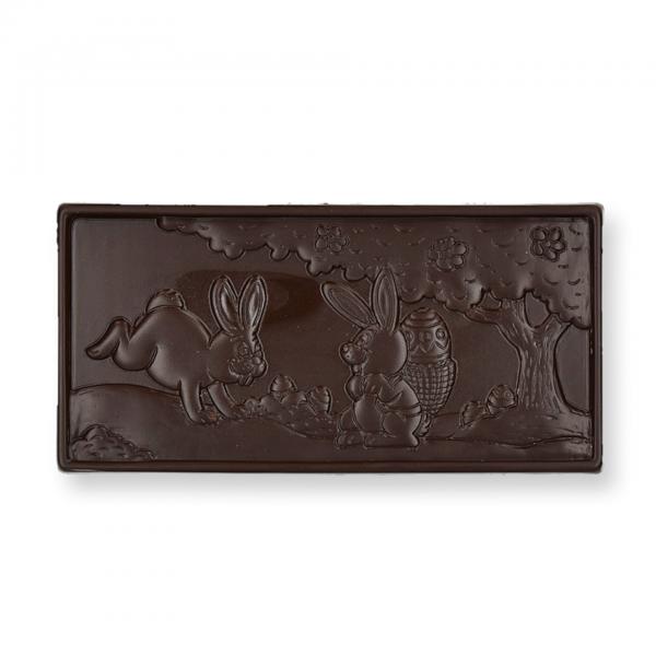 Hasenschokolade, Zartbitter, bestreut mit Haselnuss-Stücken