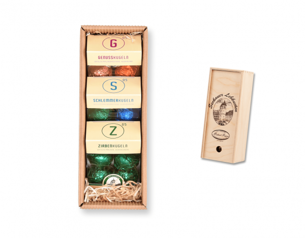 Holzkassette - mit Pralinenmischungen