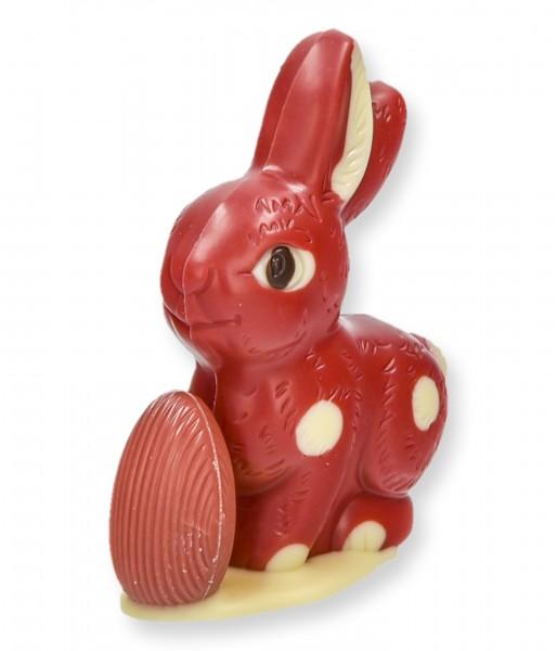 Sitzhase klein mit Ei, Erdbeer